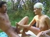 Busty Blonde Jerking Guy Outdoor