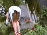 Dirty Guy Records Lady Upskirt On The Cemetery