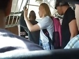Several Asian Guys Fucked Blonde Girl in The Bus