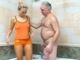 Old Fart Alone in Bathroom with His Friends Teen Daughter