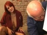 Redhed Busty Girl Fucked by Old Man