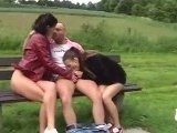 Sexy Sluts Fucked One Dick In Public Park