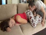 Beautiful Teen Surprised While Sleeping On The Couch