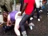 Fat Teen Grouped On The Street By A Several Black Guys