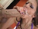 Hot Brunette Gets Her Mouth Full Of Warm Cum