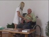Nasty Nurse Cares for a Horny Grandpa in Wheel Chair
