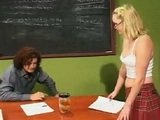 Blonde Teen Seduces her Professor to Pass Exam