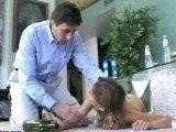 Daddy found Totally Drunk Babysitter on the Floor