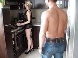 Young Boy Surprised his Sexy Girlfriends Mom In the Kitchen