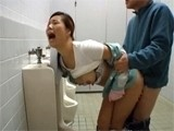 Asian Toilet Cleaner Roughly Banged By Stranger