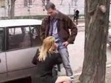 Blonde Girlfriend Gives A Blowjob On A Public Place