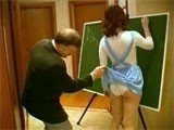 Old Private Teacher Grab Schoolgirl for Ass