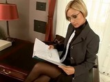 Hot Blonde Assistant Is Ready To Show Her Skills!