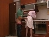 Immodest Boy Couldnt Resist Grabbing Mommys Ass In Kitchen