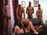 Blonde Girl Fucked By Five Black Men One By One