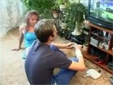 Horny Mom Interrupted Boy Playing Video Games