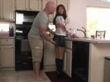 Teen Interrupted Washing Dishes By Her Dad's Friend