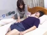 Sexy Asian Milf Surprised with Boys Morning Boner
