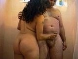 Chubby Arab Couple Makes out in the Shower