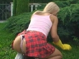 Hot Blonde Gardener Surprised From Behind
