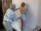 Filthy Old Man Insist To Help Teen And Wash Her Back