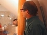 Old perv spying on girl while she was in shower