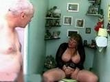Busty Mature Woman Caught Masturbating by Old Man