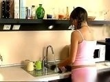 Boy Interrupted Brothers Girlfriend Washing Dishes