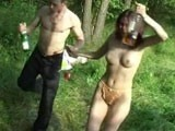 She is so drunk that she vomits from his cock
