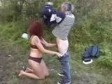 Redhead Whore have Sex in Public with Old Truck Driver