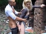 Blonde Chick Fucked In Public For Some Cash