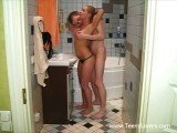 Hold my GF sister from back during bath