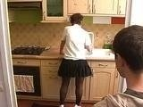 Teen Boy Interrupted Hot Girlfriends Mom In the Kitchen