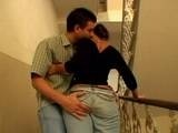 Dude Grab His Sexy Neighbor Wife For Ass On The Stairs