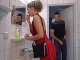Hot teen made mistake when entered man`s toilet