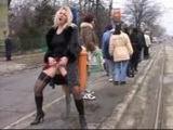 Kinky Blonde Girl Pissing In The Street